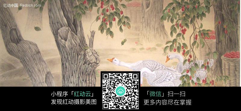 中国工笔画-马到功成 荷花飞鸟工笔画 牡丹花树枝上的鸟工笔画