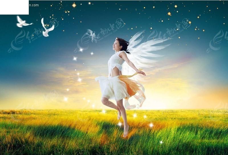 草原上的天使美女