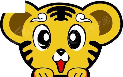 可爱小虎矢量图_陆地动物