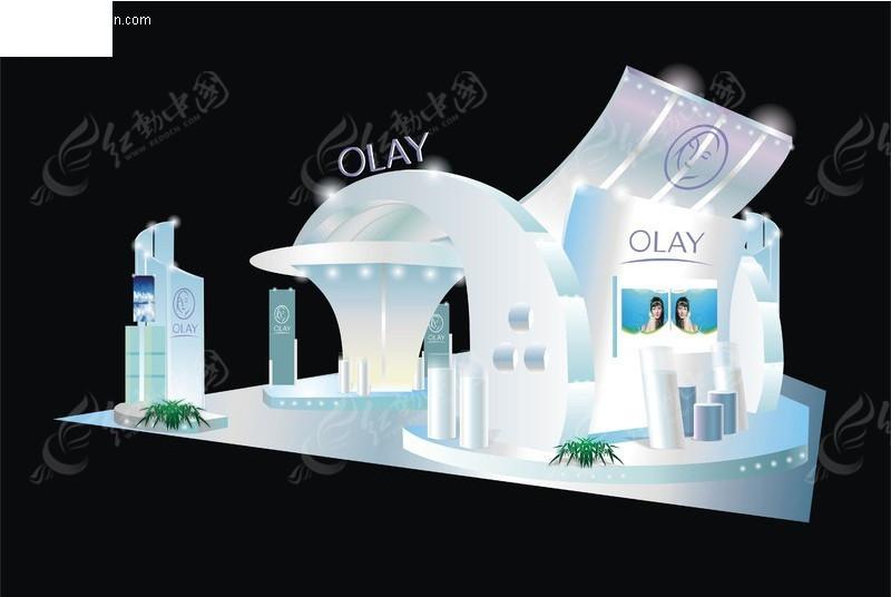 玉兰油展厅设计效果图矢量图 展板设计高清图片