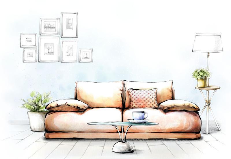 室内手绘客厅效果图psd素材免费下载_红动网