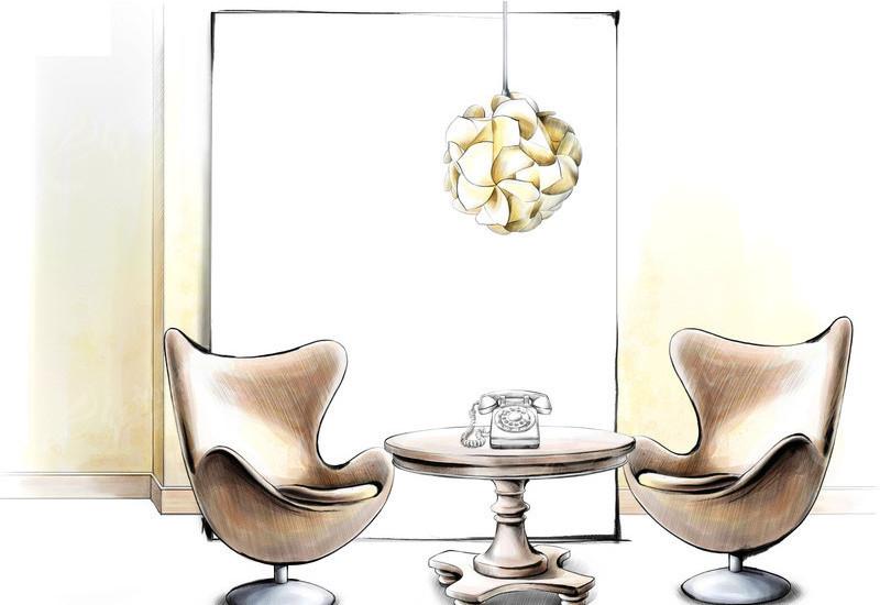 手绘客厅装饰效果图_室内设计