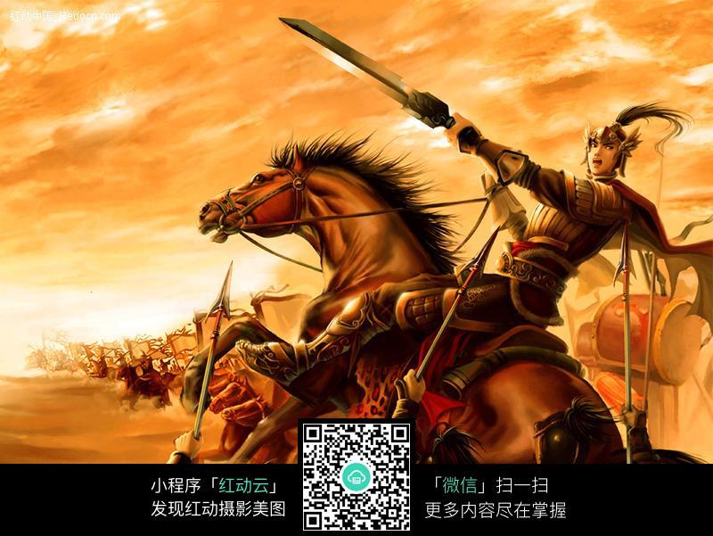 古代骑士 中国古代骑兵 战争场面 战马 士兵  人物素材 摄影图片