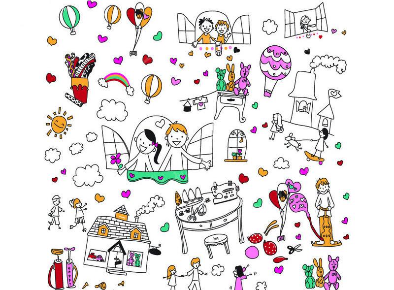 简单 卡通 可爱 热气球 彩虹 线条画 人物 孩子 云朵 打开窗户 桌子