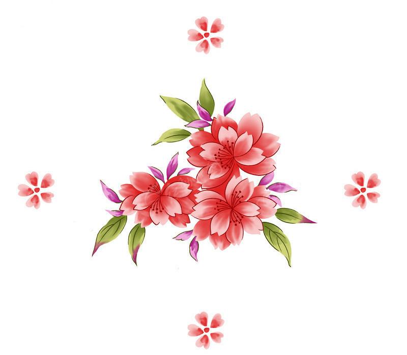高清手绘花卉psd