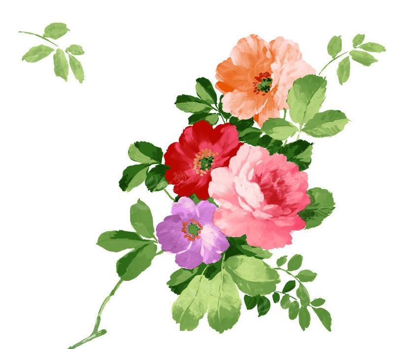 免费素材 psd素材 psd花纹边框 花纹花边 手绘水彩牡丹花分层素材