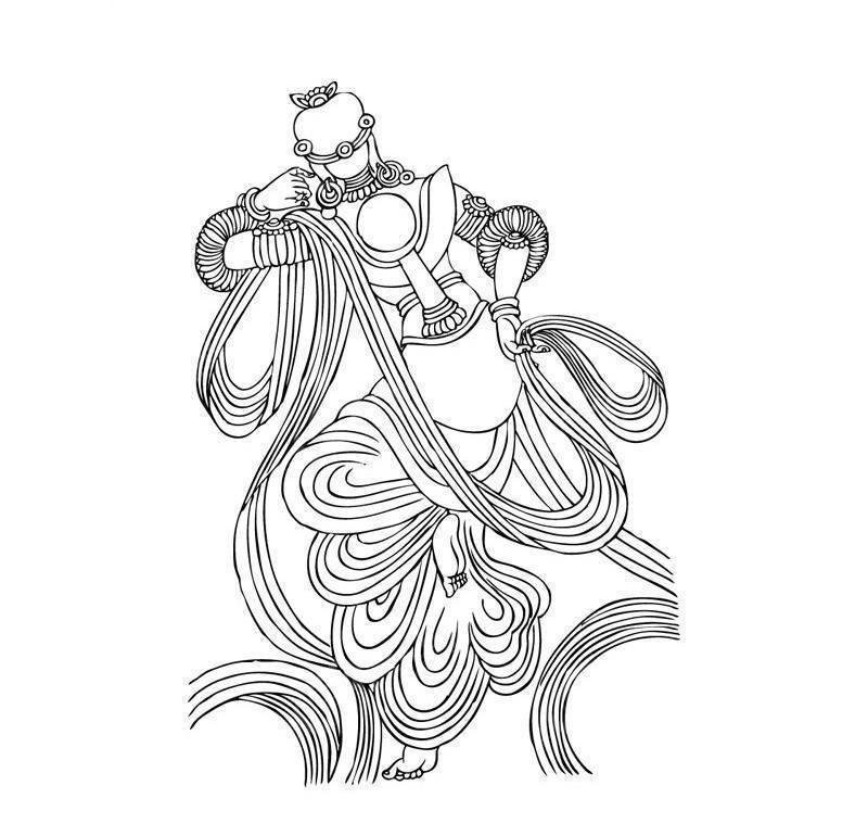 敦煌壁画图片 古代舞蹈矢量图图片