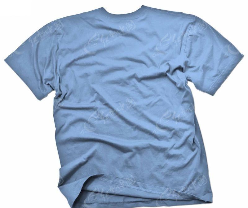 背面蓝色t恤设计模板