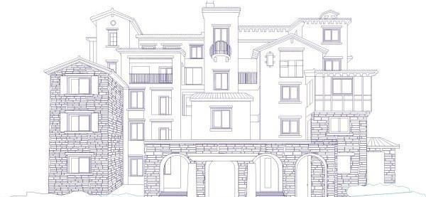 别墅矢量线稿矢量图_建筑景观; 楼房图片[矢量图cdr]-17;