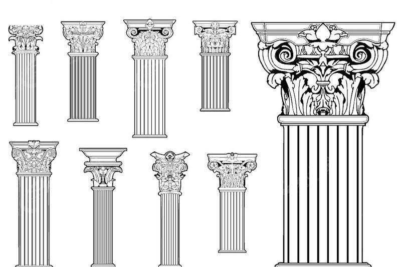罗马柱 陶立克柱 多力克柱 爱奥尼克柱 科林斯柱  工艺品 矢量素材图片