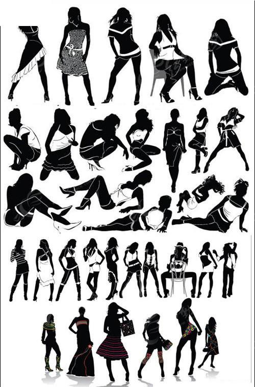 各种女性人物剪影矢量