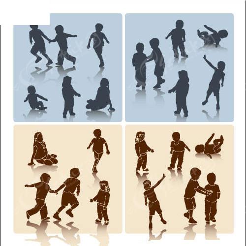 矢量人物 儿童 奔跑 嬉戏玩耍