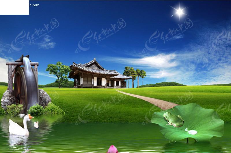 乡村田园水车风景图片