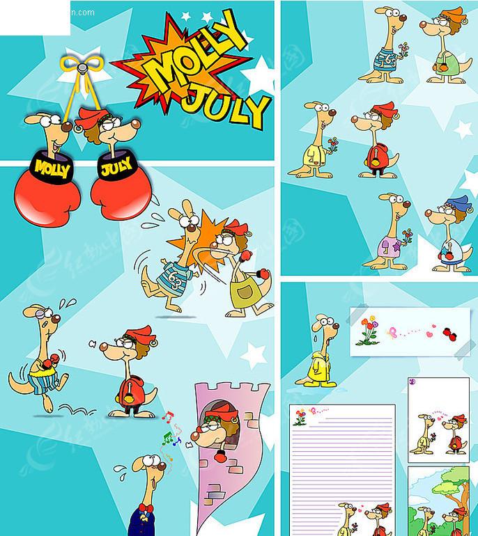 卡通袋鼠各种动作百态矢量素材图片