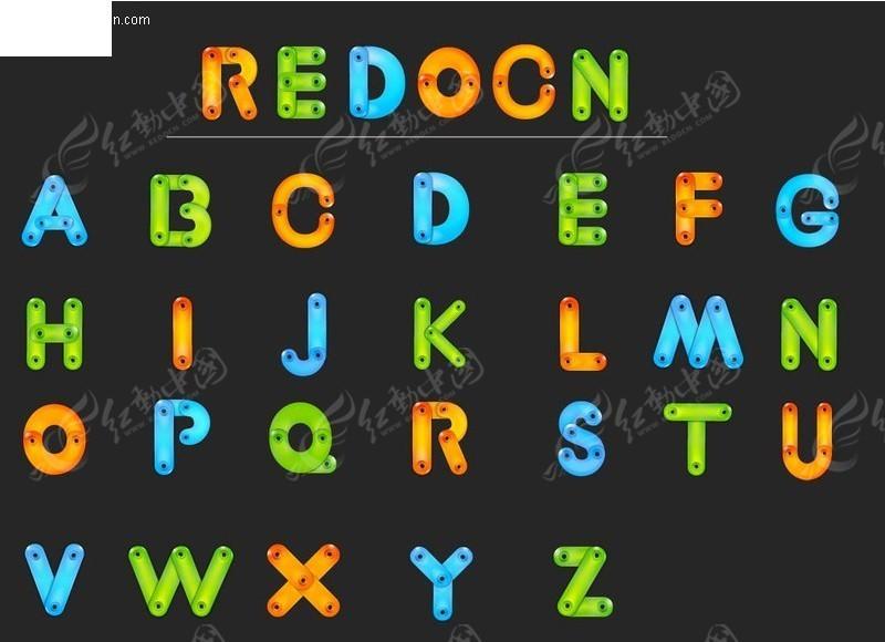彩色卡通英文字母ai免费下载_英文字体素材