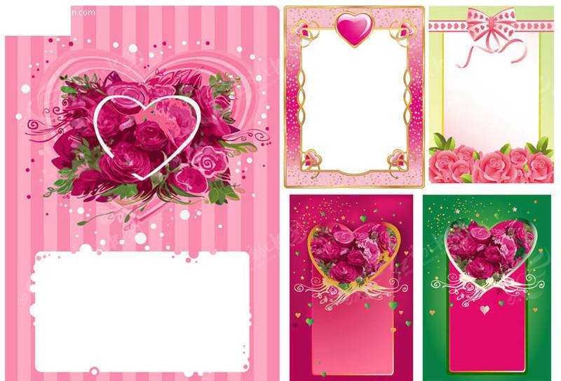 心形玫瑰花装饰边框矢量
