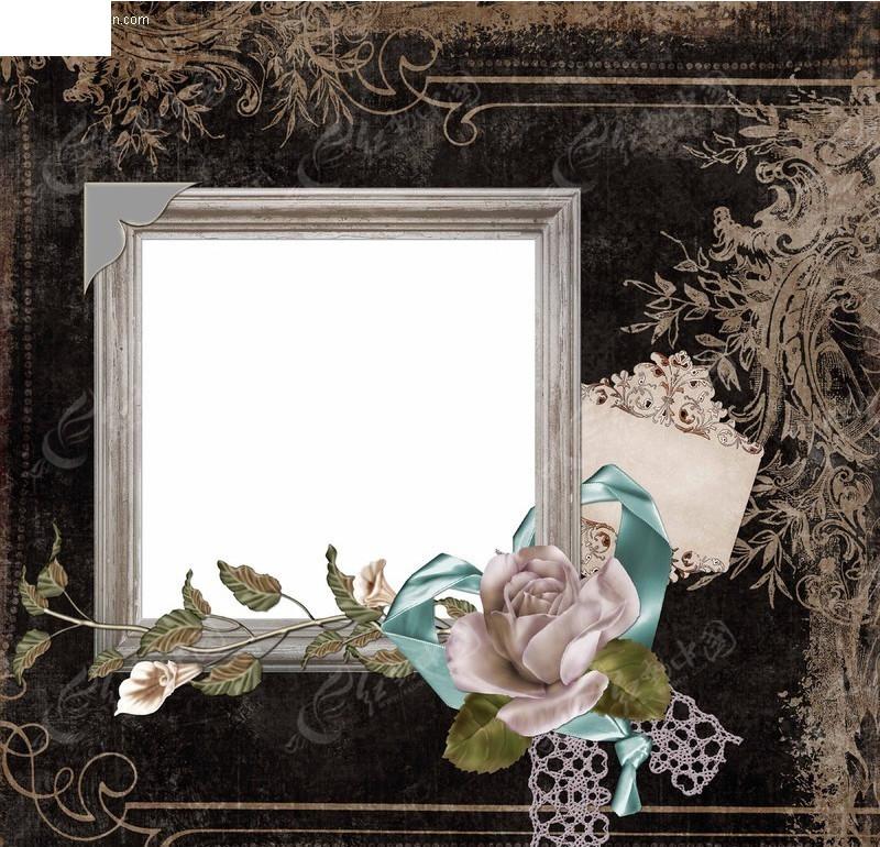 怀旧欧式花纹背景相框-psd相框素材图片