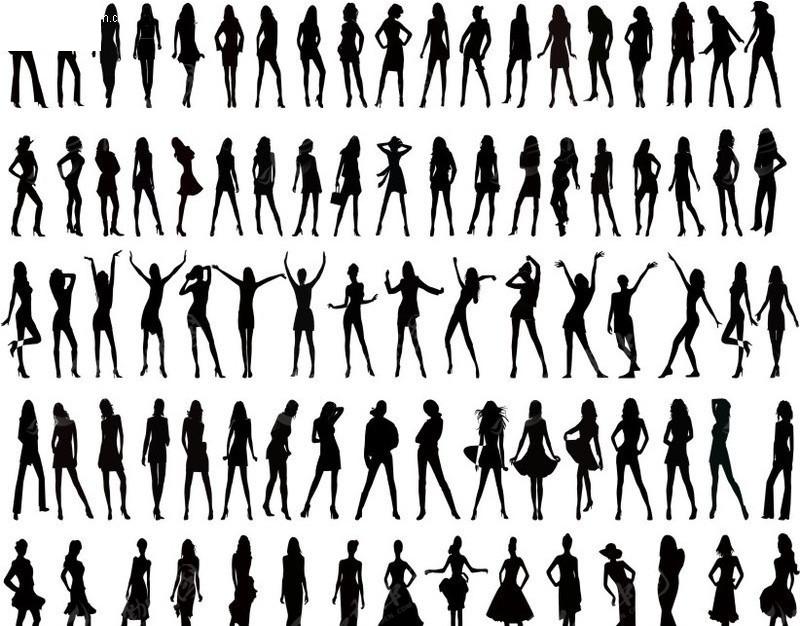 各种姿势时尚女性人物剪影