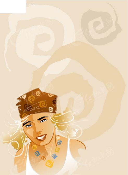服装类海报设计模板 手绘线条女人 手绘插画 矢量简笔美女模特 矢量