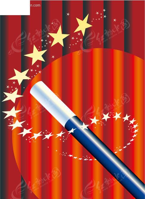 魔术表演魔术棒 星星 红色舞台背景 魔术表演海报模板 矢量海报设计
