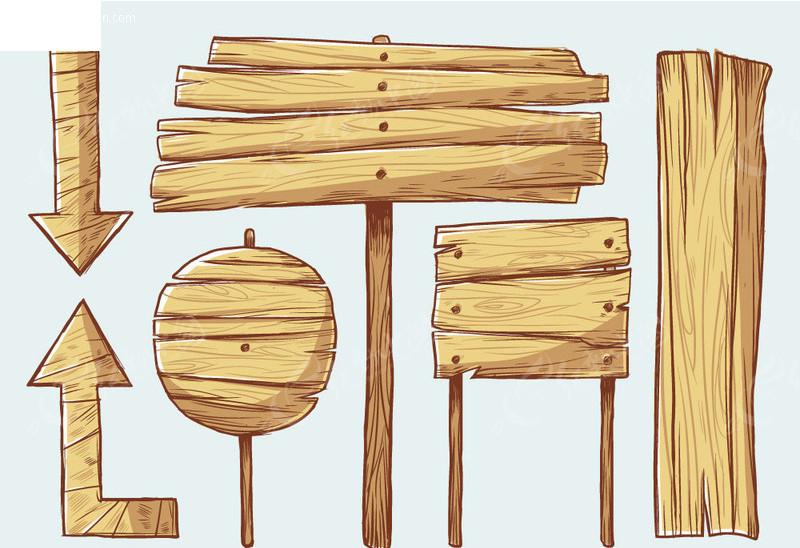 手绘风格木板矢量素材