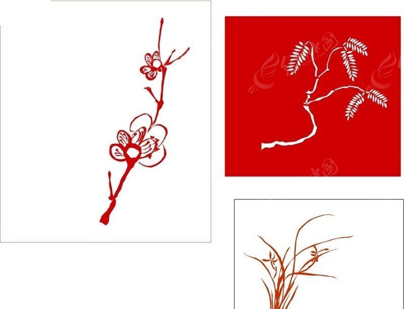 手绘植物矢量图_花草树木; 梅花矢量图_花_花草_生物世界; 矢量秋天的