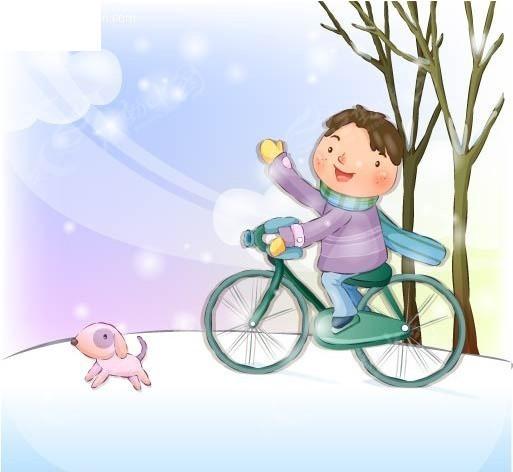 儿童骑自行车简笔画图片