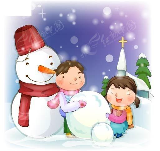 儿童堆雪人图片