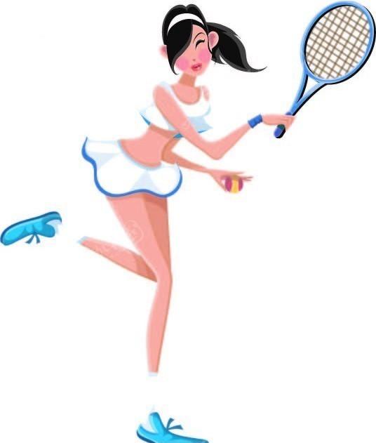 女孩-打网球矢量图_体育运动