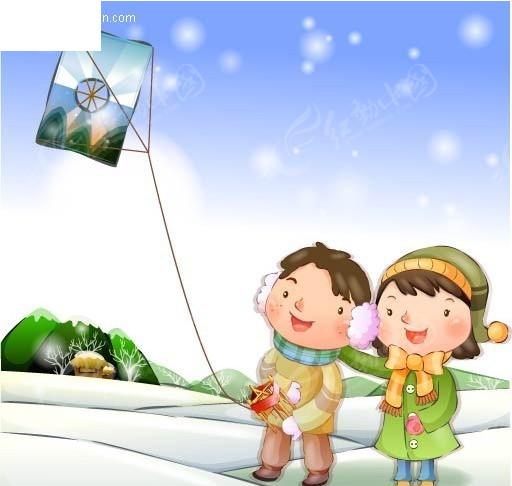 儿童放风筝图片