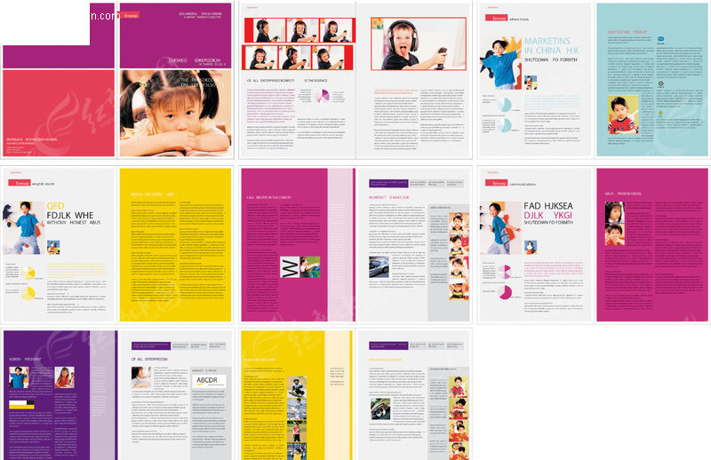 儿童画册版式设计模板矢量图