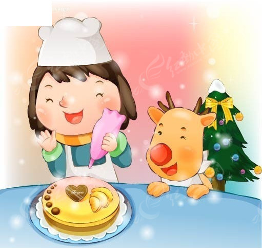 儿童圣诞做蛋糕图片