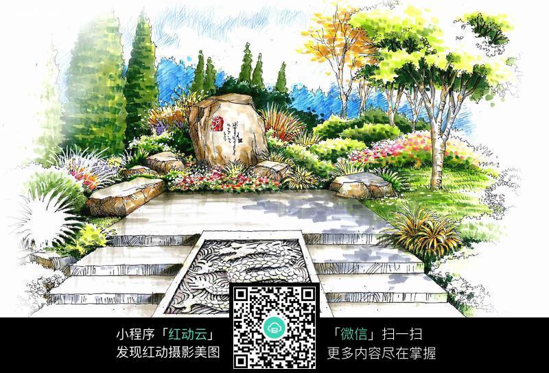 手绘园林风景图片_花草树木图片_红动手机版