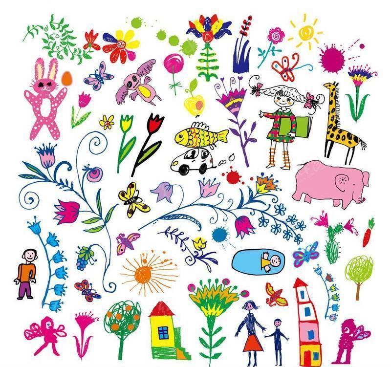 儿童蜡笔画图片