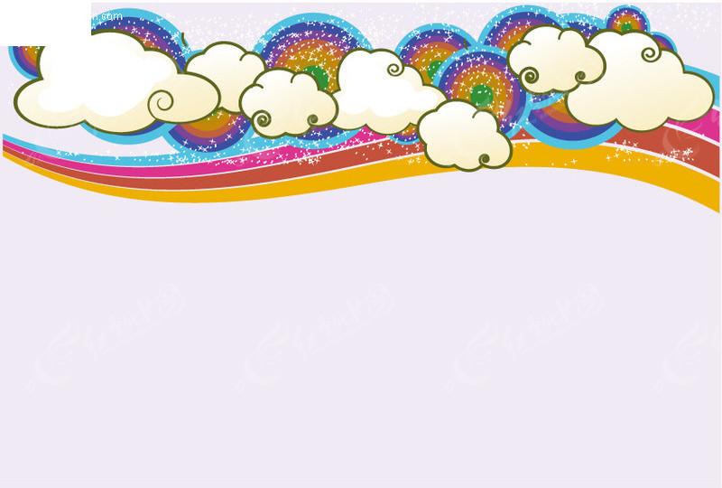 漂亮可爱云朵彩虹背景矢量矢量图 底纹背景
