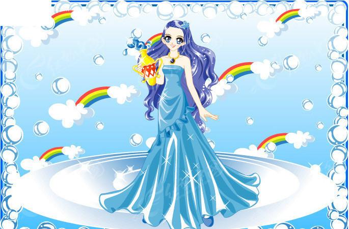 免费素材 矢量素材 矢量人物 卡通形象 梦幻公主卡通十二星座之水瓶