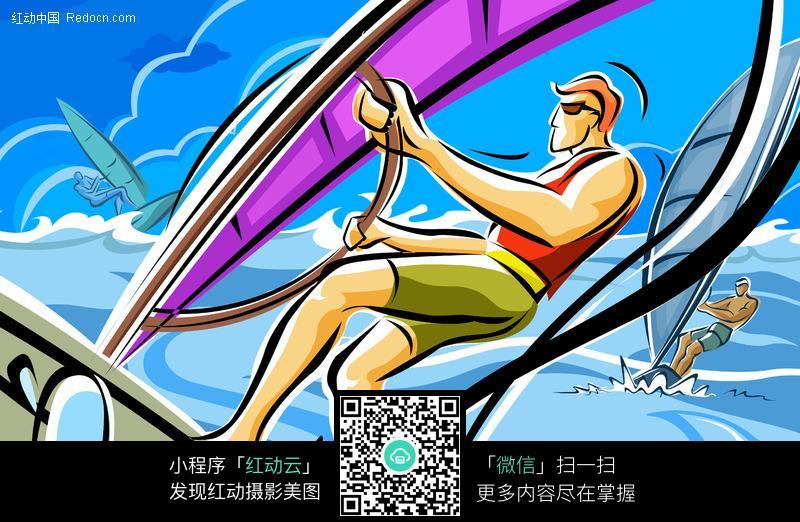 手绘插画-帆船运动