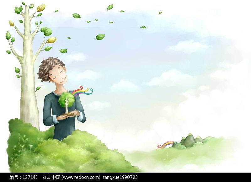 韩国卡通人物-手捧树苗的男孩图片