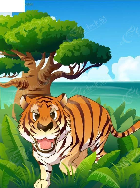 矢量卡通动物-老虎