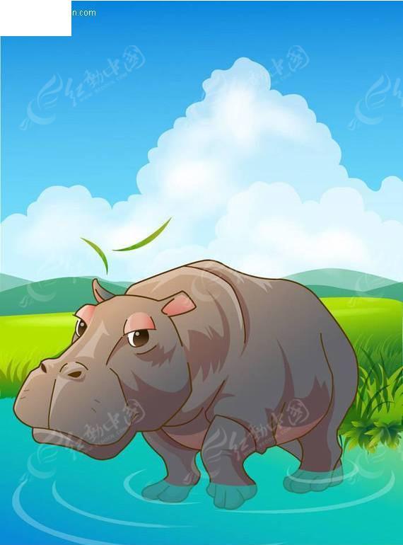 矢量卡通动物-河马