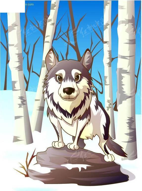 矢量卡通动物-狼