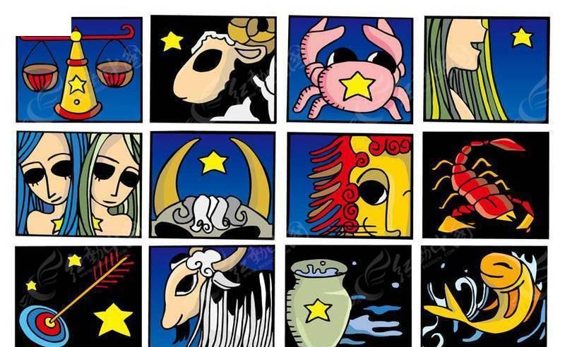矢量卡通12星座