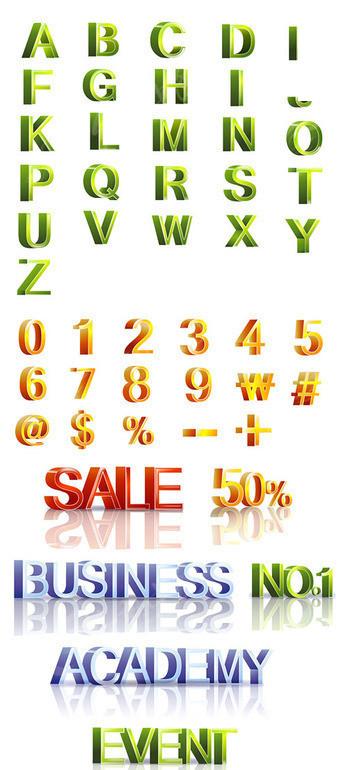 英文字体 > 立体英文字母及数字矢量素材  免费下载我要改图 素材编号