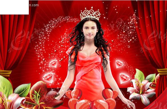 舞台上戴上皇冠的美女