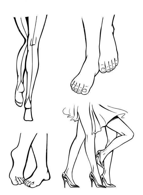 手绘脚 美脚 双脚 双腿 人物简笔画 女人腿脚线描简笔画 女人腿部轮廓