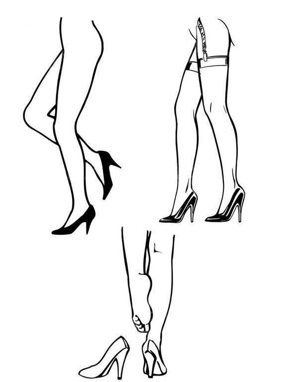 腿和高跟鞋一起的简笔画的步骤