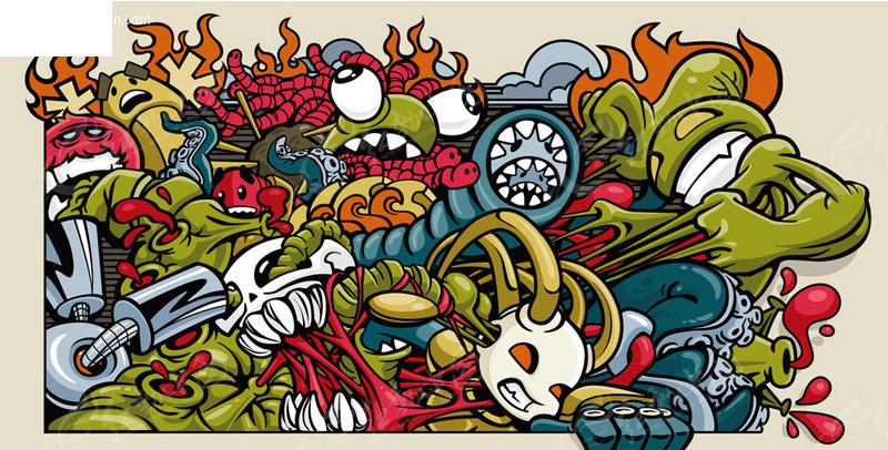 卡通动漫-怪物涂鸦矢量图