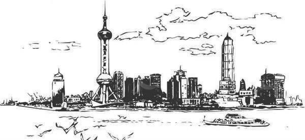上海外滩线描景色