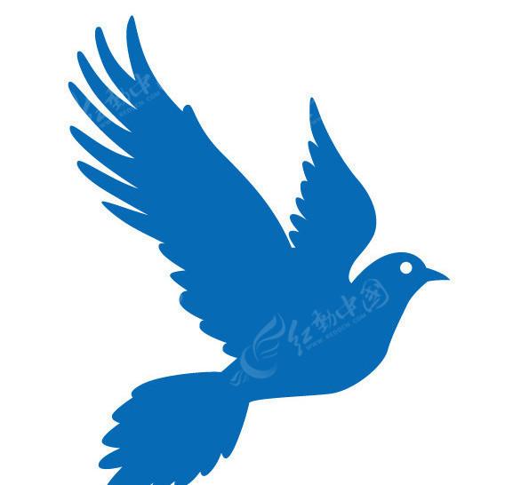 展翅飞翔的和平鸽剪影矢量素材