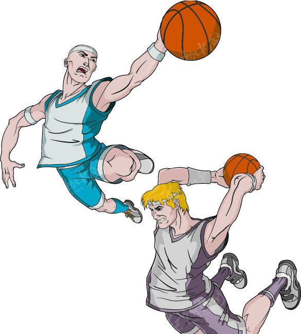 打篮球漫画人物矢量素材